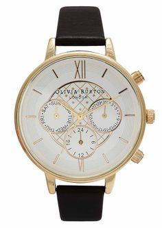 Olivia Burton Big Dial Chrono Detail Watch - Black & Gold in To-Be-Confirmed