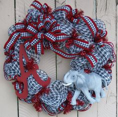 University of Alabama ....... Roll Tide Decomesh wreath!!  Alabama A and the elephant mascot!!!