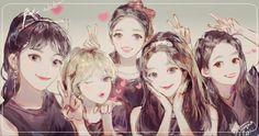 Anime Best Friends, Korean Best Friends, Friend Anime, Exo Red Velvet, Red Velet, Anime Friendship, Kpop Drawings, Fanarts Anime, Anime Couples Manga