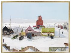 "William Kurelek - ""Prairie Town in Winter"" mixed media on hardboard, by The Thomson Collection at the Art Gallery of Ontario, Toronto © Estate of William Kurelek Canadian Painters, Canadian Artists, William Kurelek, Clarence Gagnon, Canadian Prairies, Name Paintings, Art Gallery Of Ontario, Used Travel Trailers, Ukrainian Art"