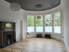 Dulux Bowler Hat ceiling White walls Oak parquet herringbone floor Fireplace, tenement, Glasgow Flat Interior, Interior Design, Room Ideas, Decor Ideas, Victorian Interiors, Georgian Homes, Bowler Hat, Parquet Flooring, Flat Design