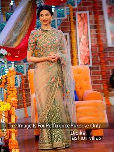 Deepika Padukone Net Border Work Beige Bollywood Designer Saree