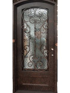 This gorgeous wrought iron door was handcrafted with dimpled glass. Wrought Iron Doors, Bookends, Glass, Home Decor, Iron, Projects, Drinkware, Corning Glass, Interior Design