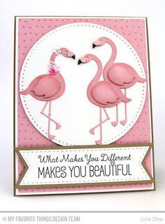 Tickled Pink, Myriad Dot Background, Cross-Stitch Circle STAX Die-namics, Fishtail Flags STAX Die-namics, Flamingos Die-namics, Stitched Fishtail Flags STAX Die-namics - Julie Dinn  #mftstamps