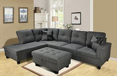 Beverly Furniture 3 Piece Microfiber and Faux Leather Upholstery Rightfacing Sectional Sofa Set with Storage Ottoman Gray -- Continue to the product at the image link.Note:It is affiliate link to Amazon. #StunningLivingRoom