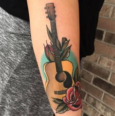 Guitar Roses Tattoo  - http://tattootodesign.com/guitar-roses-tattoo/  |  #Tattoo, #Tattooed, #Tattoos