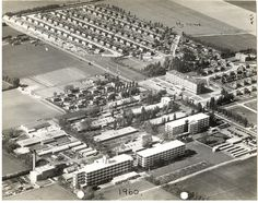 Aerial photo of Bata factory and estate in Essex, UK Typical Bata corporate city configuration with factory and employee housing. Bata Shoes, Bartlett School Of Architecture, Heritage Center, Local History, Vintage Travel Posters, Great Memories, Old Town, Archaeology, Old Photos