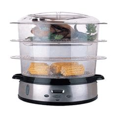 3 liters Stackable 220 volts Transparent Baskets EWI Food Steamer. http://www.worldwidevoltage.com/ewi-exst981es-food-steamer-for-220-volts.html