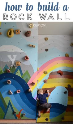 how to build a rock wall for your kids room. Paint a mural on it to match your kids room. Detailed tutorial with pictures so you can put a rock wall in a small kids room. Indoor Playroom, Playroom Mural, Kids Room Murals, Murals For Kids, Kids Room Paint, Playroom Design, Kids Room Design, Room Kids, Small Kids Rooms