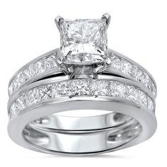 Noori 14k Gold 2 3/ ct TDW Princess Clarity Enhanced Diamond Bridal Set