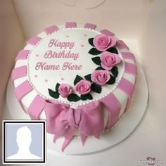 Write Name On Birthday Cake For Husband With Photo Happy Birthday Cake Writing, Birthday Cake Write Name, Happy Birthday Cake Photo, Image Birthday Cake, Birthday Cake For Husband, Pink Birthday Cakes, Happy Birthday Flower, Birthday Cake Pictures, Birthday Cake With Candles