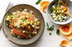 Get to know jicama, a surprisingly juicy Central American root vegetable, in this easy paleo-friendly and gluten-free salmon dinner. Seafood Recipes, New Recipes, Healthy Recipes, Paleo Meals, Salmon Recipes, Diabetic Recipes, Fish Recipes, Recipies, Pan Seared Salmon