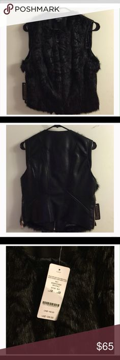 Bebe Leather and Faux Fur Vest Stylish and on trend Bebe learner and faux fur vest, excellent condition, never worn bebe Jackets & Coats Vests