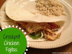 Crock-Pot Chicken Fajitas - Delicious. This will be a new staple. I like this one better than the other chicken fajita recipe on this board. Be sure to use put 1/4 cup of water in the bottom or it will burn. I put black beans in it right before serving and it was great! -Molly