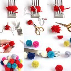 Tutorial POMPONS -Faça Você Mesmo ! #artesanato #tutorial #dye #ideas #recycling