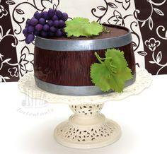 Wine Barrel Cake With Grapes Barrel covered with chocolate fondant, grapes out of modelling fondant, leaves out of gumpaste Chocolate Fondant, Modeling Chocolate, Fondant Cakes, Cupcake Cakes, Fondant Owl, Barrel Cake, Dad Birthday Cakes, Dad Cake, Wine Tasting Party