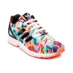 Crank up your mileage with the modern ZX Flux Athletic Shoe from adidas! This futuristic running style sports breathable satin uppers with vibrant prints, and lightweight EVA outsole for shock-absorbing traction, so you can hit the ground running in style.   <br><br><u>Features include</u>:<br> > Breathable satin upper with vibrant watercolor prints<br> > Signature adidas side stripes<br> > Lace closure provides a secure fit<br> > TPU heel cage provides stability and durability<br…