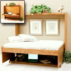 Horizontal wall bed with desk  (Note how everythings stays on the table and fits below the bed when folded down!!)