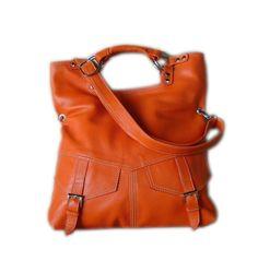 Orange pebble leather handbag / shoulderbag  / by artoncrafts, $125.00