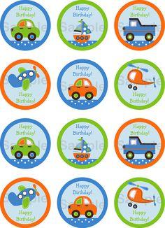 blue, green + orange transportation printables