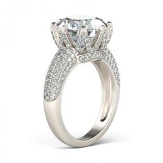 Fashion Round Cut Created White Sapphire Rhodium Plated 925 Sterling Silver Women's Engagement Ring - Jeulia Jewelry