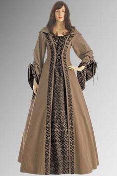 Medieval Renaissance Maiden Dress Gown with Hood by YourDressmaker