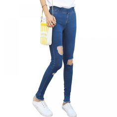 BIVIGAOS Spring Big Hole Elastic Jeans Leggings Jean Trousers Denim Jeans Womens Slim Skinny Pencil Pants Ripped Jeans For Women. Womens Ripped Jeans, Jeans Denim, Ripped Denim, Legging Jean, Denim Leggings, Elastic Jeans, Ankle Length Pants, Yoga Wear, Fashion Pants
