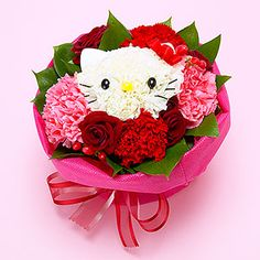 Hello Kitty carnation and rose bouquet...clever!