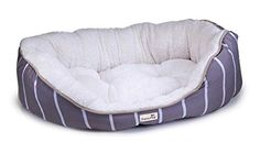 TrustyPup Snuggle Mutt Oval Pet Bed for Medium to Large Dogs Sweeping Stripe Stone ** Read more reviews of the product by visiting the link on the image.