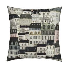 Buildings Throw Pillow - Paris For Lunch large by katherine_quinn - Modern Homes Sketching Square Throw Pillow by Spoonflower Pillow Shams, Pillow Covers, Rain Shower Bathroom, Modern Homes, Natural Texture, Basket Weaving, Surface Design, Spoonflower, Cotton Canvas