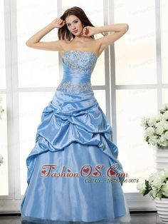 Aqua Blue Appliques Bodice and Pick-ups For Prom Dress- $153.29  http://www.fashionos.com    strapless evening dress   autumn collection   fitted floor length prom dress   a line prom dress   junior plus size prom pageant dresses   cheap sexy pageant prom gown  