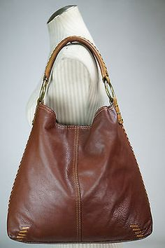 LUCKY BRAND Brandy Brown Leather Whipstitch Slouchy Hobo Shoulder Bag