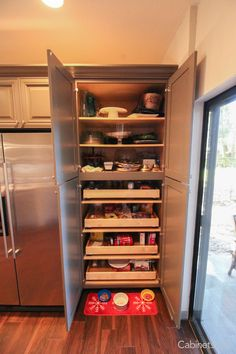 Nice size pantry cabinet with 4 roll out trays. Great for kitchen storage and organization! Kitchen Organization Pantry, Kitchen Pantry, Kitchen Storage, Kitchen Cabinets, Kitchen Appliances, Organized Kitchen, Kitchen Ideas, Discount Cabinets, Pantry Makeover