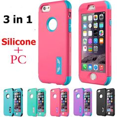 """6 6s / Plus Full Protection 3 in 1 Plastic Hard Pc+Silicone Case For iPhone 6 6S 4.7"""" / 6 6S Plus 5.5"""" Phone Cover Back Armor"""