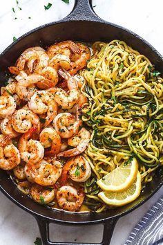 10-Minute Lemon Garlic Butter Shrimp with Zucchini Noodles - This fantastic meal cooks in one skillet in just 10 minutes. Low carb, paleo, keto, and gluten free. #food #dinner #recipes #food_idea