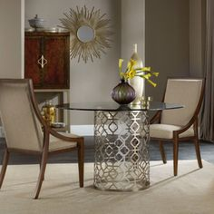 Found it at Wayfair - Skyline Dining Table Dining Table Online, Glass Top Dining Table, Dining Table In Kitchen, Dining Bench, Dining Chairs, Hooker Furniture, Dining Furniture, Round Kitchen, Contemporary Dining Table