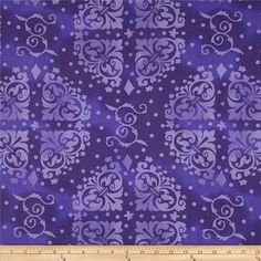"""108"""" Quilt Backing Medallion Tonal Purple. This pattern also comes in turquoise, bright orange, brown, olive green, lime green, navy, natural/tan, and light blue."""