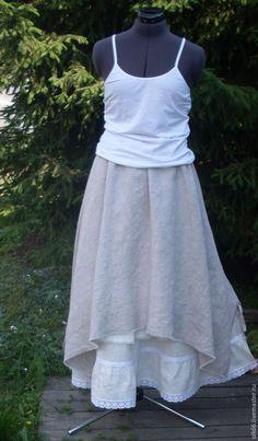 Купить №021.1 Льняная юбка бохо - юбка бохо, бохо юбка, льняная юбка