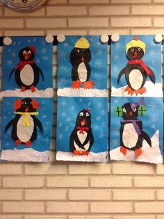 Pinguïns knippen en plakken. Sneeuw scheuren. Sneeuwvlokken tekenen.