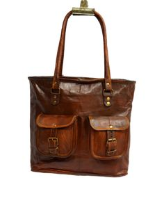 "Vintage Leather Tote Bag for Women. 11"" x 14"" x 3"""