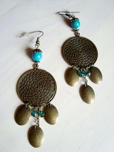 Boucles d'oreille médaillon romantique bronze : Boucles d'oreille par l-amaranthe