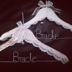 """You can't get much prettier than these Gorgeous """"LACE"""" BRIDE hangers...... BRIDE Lace Hanger by bridalbling on Handmade Australia"""