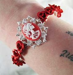 Scarlet Red Cameo on Silver Filigree Cuff Bracelet with Matching Aluminum Roses Gothic Jewelry