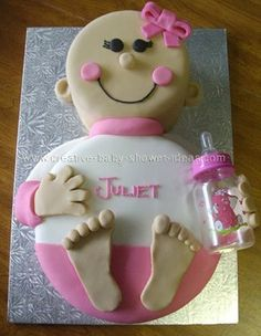 baby-shower-ideas-for-a-girl.jpg (324×418) We need a shower cake! Change it to blue-minus the bow and name change and it's a boy!