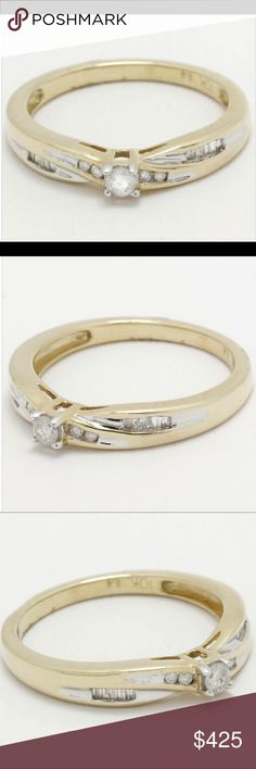 10k solid gold ring .16ctw diamonds 10k solid gold ring with .16ctw genuine diamonds.  2.4grams, size 7 Jewelry Rings