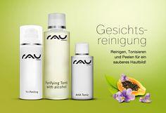 Vom sanften Wasch-Gel über effektive Enzym- und Fruchtsäure-Peelings zum erfrischenden & pflegenden Gesichtswasser!  http://www.rau-cosmetics.de/gesichtsreinigung/ #waschgel #peeling #toner #tonic #gesichtswasser #hautpflege