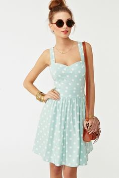 mint polka dot dress!