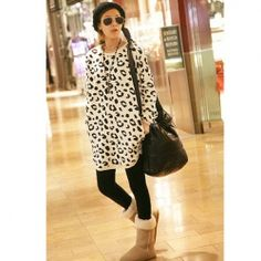 Hot Sale Leopard Round Collar and Long Sleeves Blouse For Female