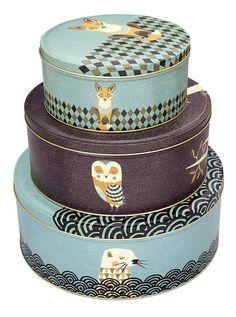 Magpie Dusk Wildlife Set Of 3 Cake Tins Tom Frost Design