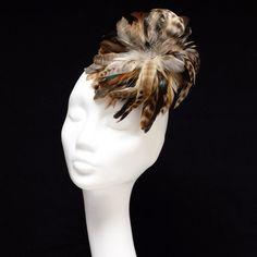 Brown fascinator brown headpiece designer hat by MarinettaDesign